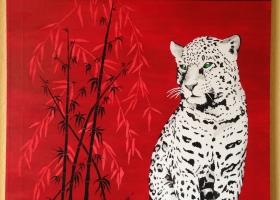 Leopard - gelb/grüne Augen