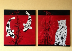 Leopard - Fertig montiert neben dem Koi-Bild